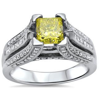 Noori 14k Gold 2ct TDW Canary Yellow Princess-cut Diamond Engagement Ring - White