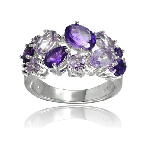 Glitzy Rocks Sterling Silver African Amethyst and Amethyst Tonal Cluster Ring