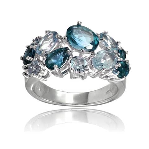 Glitzy Rocks Sterling Silver London Blue Topaz and Blue Topaz Tonal Cluster Ring