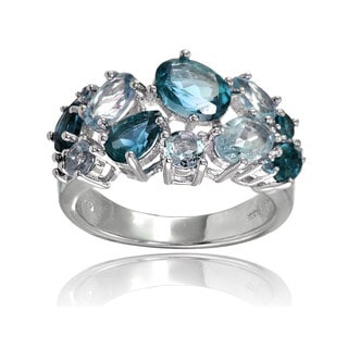 Glitzy Rocks Sterling Silver London Blue Topaz and Blue Topaz Tonal Cluster Ring
