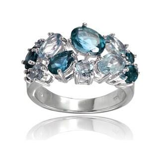 Glitzy Rocks Sterling Silver London Blue Topaz and Blue Topaz Tonal Cluster Ring|https://ak1.ostkcdn.com/images/products/14008723/P20630577.jpg?_ostk_perf_=percv&impolicy=medium