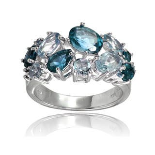 Glitzy Rocks Sterling Silver London Blue Topaz and Blue Topaz Tonal Cluster Ring|https://ak1.ostkcdn.com/images/products/14008723/P20630577.jpg?impolicy=medium