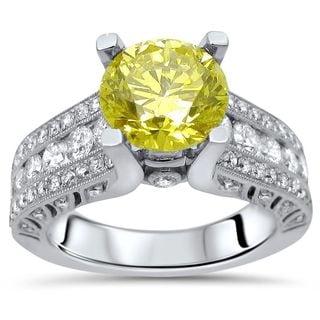Noori 18k Gold 2ct TDW Fancy Yellow Round Diamond Engagement Ring (G-H, SI1-SI2)