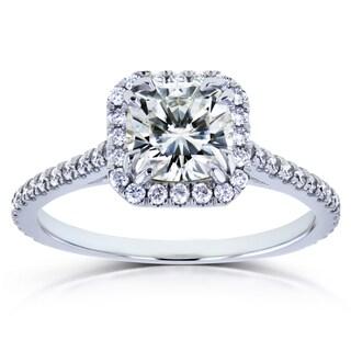 Annello by Kobelli 14k White Gold Cushion Moissanite and 1/3ct TDW Diamond Halo Engagement Ring (GH, I1-I2)