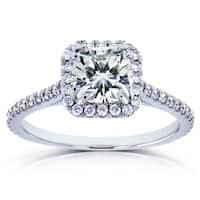 Annello by Kobelli 14k White Gold 1 2/5ct TGW Cushion Moissanite (HI) and Diamond Halo Engagement Ring
