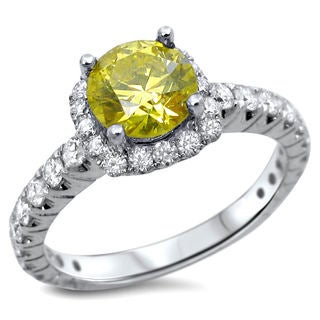 Noori 18k Gold 1 1/4ct TDW Canary Yellow Round Diamond Engagement Ring - White