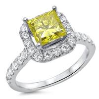 Noori 14k Gold 1 1/4ct TDW Canary Yellow Princess-cut Diamond Engagement Ring - White