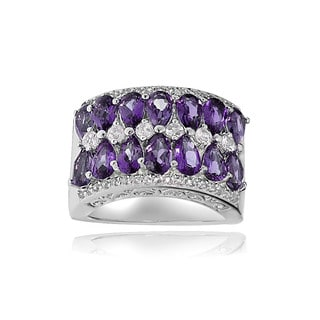 Glitzy Rocks Sterling Silver African Amethyst and White Topaz 2-row Ring