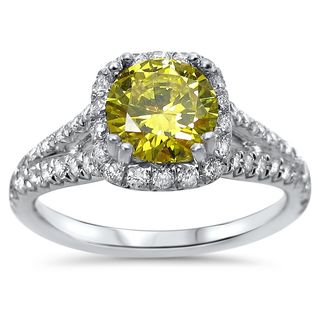 Noori 18k Gold 1 3/4ct TDW Canary Yellow Round-cut Diamond Engagement Ring - White