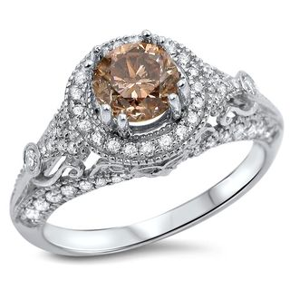 Noori 14k Gold 1 2/5ct TDW Brown Round Diamond Engagement Ring