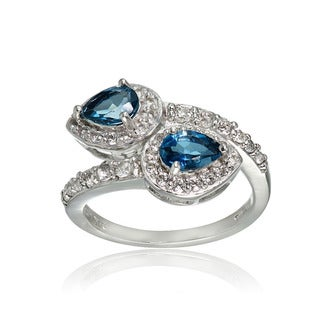 Glitzy Rocks Sterling Silver London Blue and White Topaz Pear Friendship Ring