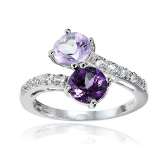 Glitzy Rocks Sterling Silver African Amethyst, Amethyst and White Topaz Friendship Ring