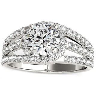 Transcendent Brilliance 14K Gold 7/8ct TDW Diamond Halo Engagement Ring (G, VS2)