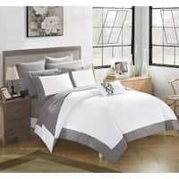 Chic Home 10-Piece Grey and White Color Block Bed In A Bag Comforter Set