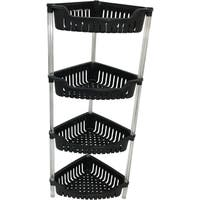 Wee's Beyond Black Plastic 4-tier Corner Storage Baskets