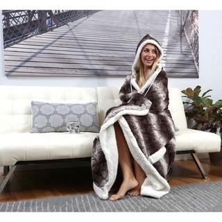 Chic Home Aisha Hooded Brown Snuggle Blanket
