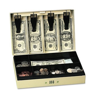 PM Company Securit Steel Cash Box with 6 Compartments Three-Number Combination Lock Pebble Beige