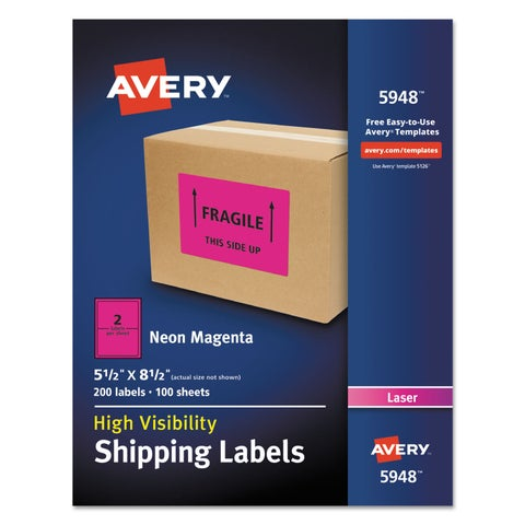 Avery Neon Shipping Label Laser 5 1/2 x 8 1/2 Neon Magenta 200/Box