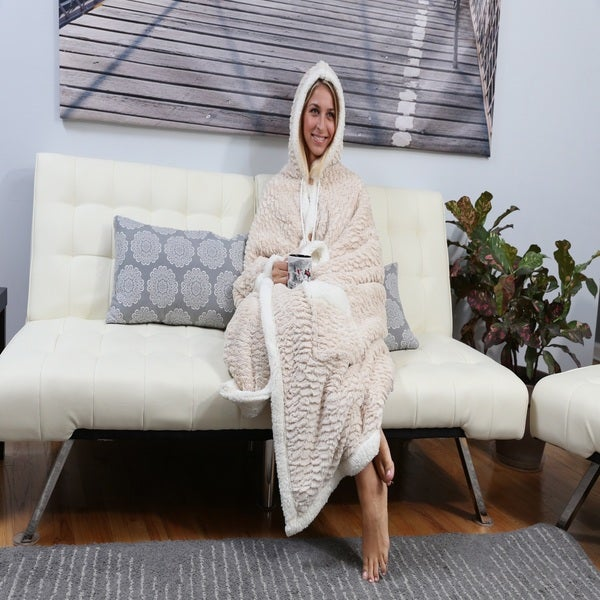 Chic Home Janet 51x71 Hooded Beige Snuggle Blanket