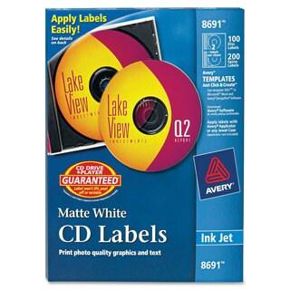 Avery Inkjet CD Labels Matte White 100/Pack