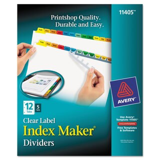 Avery Print & Apply Clear Label Dividers with Color Tabs 12-Tab Letter 5 Sets