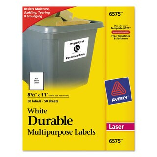 Avery Permanent ID Labels with TrueBlock Technology Laser 8 1/2 x 11 White 50/Pack
