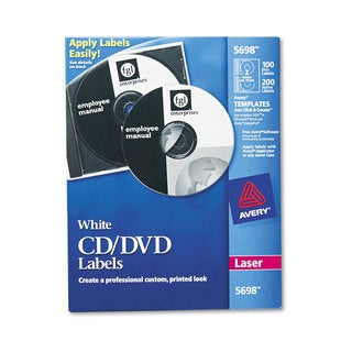 Avery Laser CD Labels Matte White 100/Pack