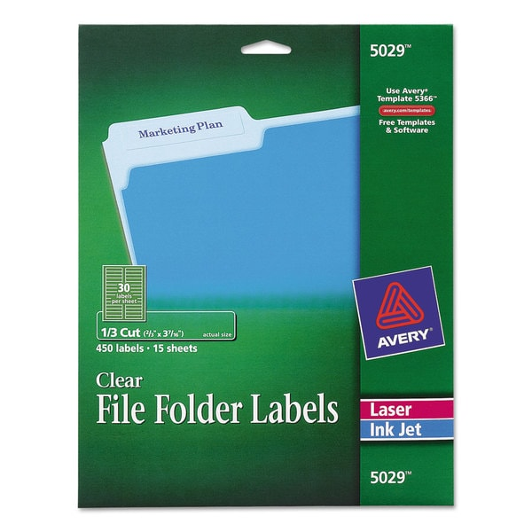 Avery Clear File Folder Labels 13 Cut 23 X 3 716 450pack Free