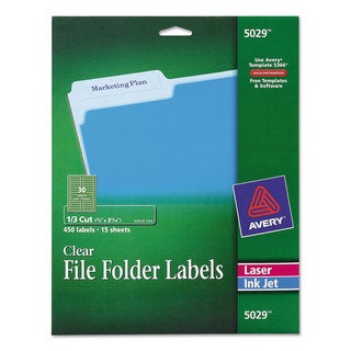 Avery Clear File Folder Labels 1/3 Cut 2/3 x 3 7/16 450/Pack