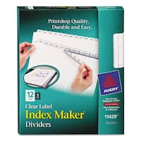Avery Print and Apply Clear Label Dividers with White Tabs 12-Tab Letter 5 Sets
