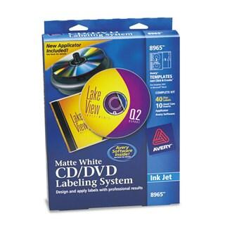 Avery CD/DVD Design Labeling Kits Matte White 40 Inkjet Labels and 10 Inserts