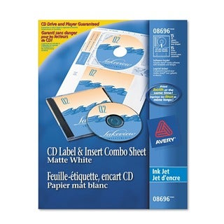 Avery CD/DVD Label and Insert Combo Sheets Matte White 20 Labels and 20 Inserts