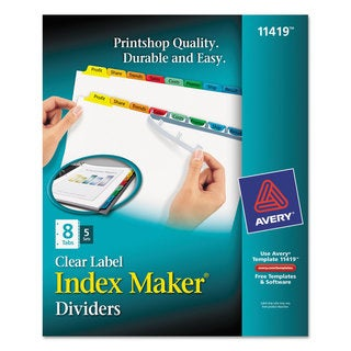 Avery Print and Apply Clear Label Dividers with Color Tabs 8-Tab Letter 5 Sets