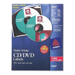 Avery Laser CD Labels Matte White 40/Pack