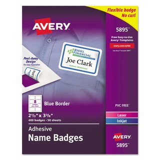 Avery Flexible Self-Adhesive Laser/Inkjet Name Badge Labels 2 1/3 x 3 3/8 BE 400/Box