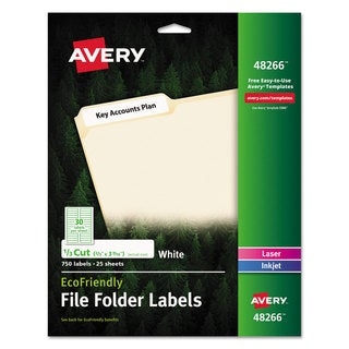 Avery EcoFriendly File Folder Labels 2/3 x 3 7/16 White 750/Pack