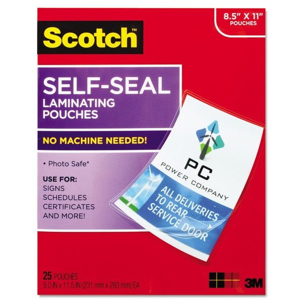 Scotch Self-Sealing Laminating Pouches 9.5 mil 9 3/10 x 11 4/5 25/Pack
