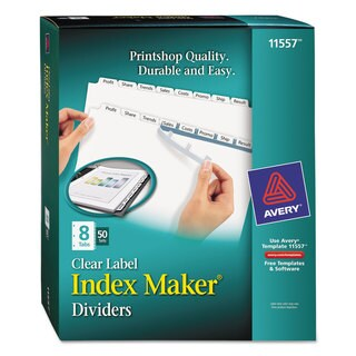 Avery Print and Apply Clear Label Dividers with White Tabs 8-Tab Letter 50 Sets