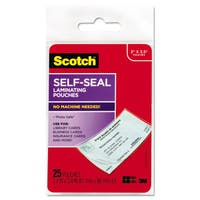 Scotch Self-Sealing Laminating Pouches 9.5 mil 2 7/16 x 3 7/8 Business Card Size 25