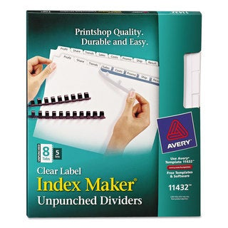 Avery Print & Apply Clear Label Unpunched Dividers with White Tabs 8-Tab Ltr 5 Sets