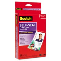 Scotch Self-Sealing Laminating Pouches with Clip 12.5 mil 2 15/16 x 4 1/16 25/Pack
