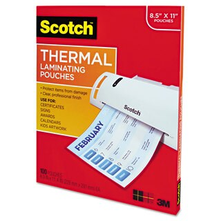 Scotch Letter Size Thermal Laminating Pouches 3 mil 11 1/2 x 9 100 per Pack