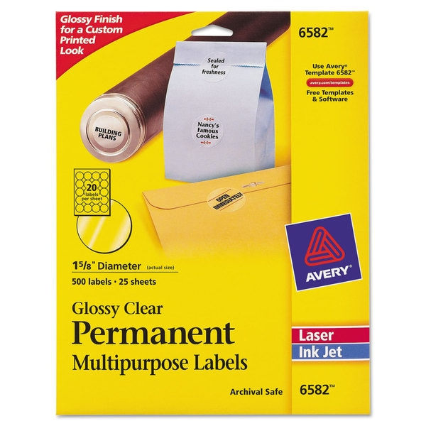 Avery round glossy clear permanent labels inkjet laser 1 2 for Half inch round labels