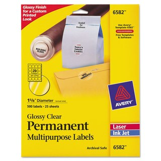 Avery Round Glossy Clear Permanent Labels Inkjet/Laser 1 2/3 inches dia 500/Pack