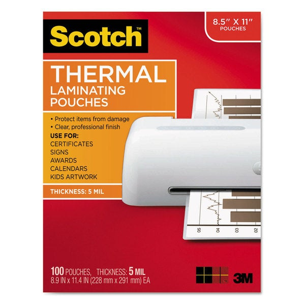 Scotch Laminating Pouches, 5 mil, 9 x 11.5, Gloss Clear, 100/Pack