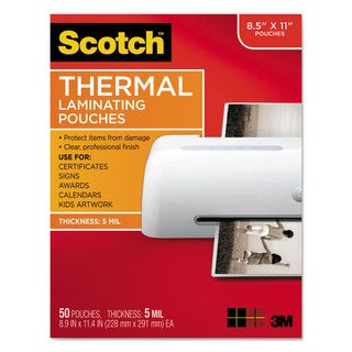 "Scotch Laminating Pouches, 5 mil, 9"" x 11.5"", Gloss Clear, 50/Pack"