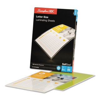 Swingline GBC SelfSeal Single-Sided Letter-Size Laminating Sheets 3mil 9 x 12 50/Pack