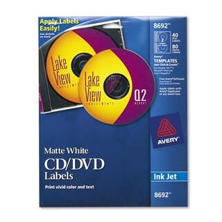 Avery Inkjet CD Labels Matte White 40/Pack