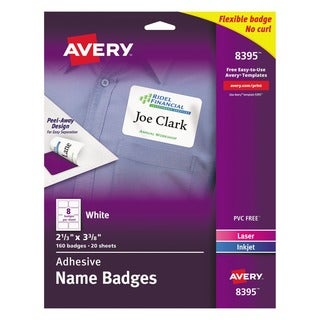 Avery Flexible Self-Adhesive Laser/Inkjet Name Badge Labels, 2 1/3 x 3 3/8, WE, (Pack of 160)
