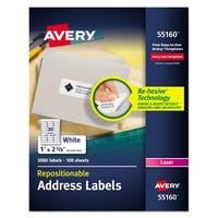 Avery Repositionable Address Labels Inkjet/Laser 1 x 2 5/8 White 3000/Box